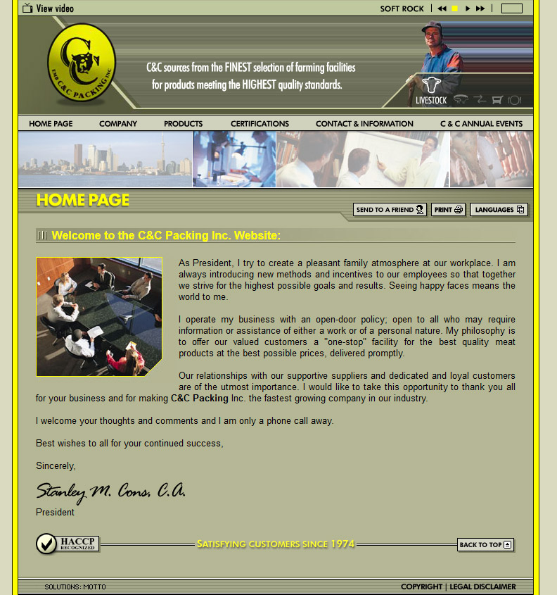 C&C Packing Website Before
